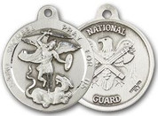 "Sterling Silver Round Medal-24"" Chain-13/16""-St. Michael & National Guard"
