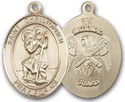 "14K Gold Filled Oval Medal-Size Large-24"" Chain-1 1/4""-St. Christopher & National Guard"