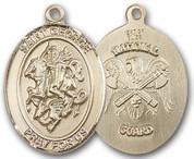 "14K Gold Filled Oval Medal-Size Large-24"" Chain-1 1/4""-St. George & National Guard"