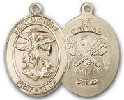 "14K Gold Filled Oval Medal-Size Large-24"" Chain-1 1/4""-St. Michael & National Guard"
