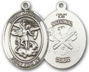 "Sterling Silver Oval Medal-Size Large-24"" Chain-1 1/4""-St. Michael & National Guard"