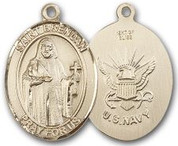 "14K Gold Filled Oval Medal-Size Large-24"" Chain-1 1/4""-St. Brendan & Navy"