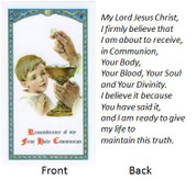 Remembrance | First Communion Holy Card | Boy | Laminated | Italian Art