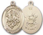 "14K Gold Filled Oval Medal-Size Large-24"" Chain-1 1/4""-St. George & Navy"
