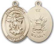 "14K Gold Filled Oval Medal-Size Large-24"" Chain-1 1/4""-St. Michael & Navy"