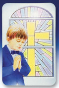 Cherished Memories Card for boy commemorates First Communion Card with space to write name measure 3 and 1 half inches by 2 and 1 quarter inches MH3515620