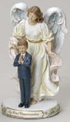 Boy and Angel First Communion Figurine in Pastel Colors with Sentiment saying My First Communion made of Resin measures 7 inches high RO47743