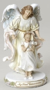 Girl and Angel First Communion Figurine in Pastel Colors with Sentiment saying My First Communion made of Resin measures 7 inches high RO47729