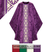 Slabbinck Gothic Chasuble Damask Fabric Central Orphrey Banding Available in Purple, Red, Green, White