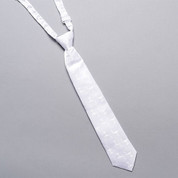First Communion Tie made of White Damask and Pre-Knotted measures 12 inches