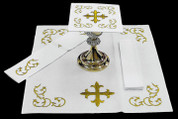 Mass Altar Linen Set with 1 Pall with removable insert 1 Corporal 1 Purificator 1 Lavabo Finger Towel Gold cross and scroll Design on 100% Cotton ALB1141SET