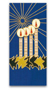 Lights of Advent Banner | Blue | Omega | Appliqué With Gold Thread