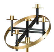 Church Advent Wreath only 21 inch diameter made of Aluminum & Brass with Black & Bronze finish Made In U S A ZZ3918T