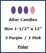 "Advent Altar Polar - Size 1-1/2"" x 12"" - 3 Purple/1 Pink"