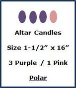 "Advent Altar Polar - Size 1-1/2"" x 16"" - 3 Purple/1 Pink"