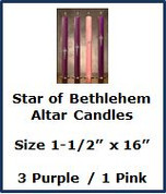 "Advent Altar Stearine - Size 1-1/2"" x 16"" - Star of Bethlehem"