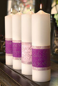 Emmanuel Advent Candle Set with 3 Purple and 1 Pink embellished with damask design made of Paraffin and Palm measure 3 inches by 12 inches WB48072