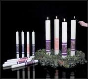 Advent Pillar Candles | 3 Purple 1 Pink |  51% Beeswax | 4 x 24 | CC82389470