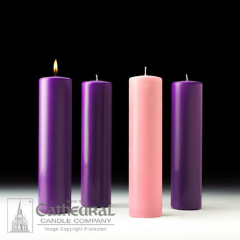 Advent Pillar Candles set with 3 Purple and 1 Pink candle made of Stearine measuring 3 inches diameter by 12 inches tall CC82332004