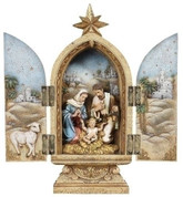 Holy Family Nativity Figurine Triptych With Hinged Doors made of Resin 10 inches RO36946