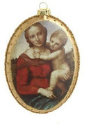 Madonna And Child Christmas Ornament Glass Oval Gold With Glitter Accents 5 and 1 half inches RAZ3319324A