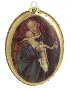 Madonna And Child Christmas Ornament Oval Glass Gold Accents 5 and 1 half inches RAZ3319324C