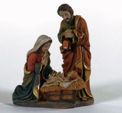 Holy Family Nativity Figurine in Vivid Colors With Gold Accents made of Resin stands 4 inches tall TJC933179