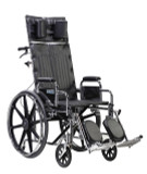 "Sentra Reclining Wheelchair with 18"" wide seat and Various Arm Styles and Elevating Leg rest-857"