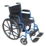 "Blue Streak Wheelchair with 20"" wide seat & Flip Back Detachable Desk Arms and Swing away Foot Rest-960"