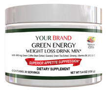 Private Label Supplement Energy & Weight Loss Drink Mix With 800 mg Green Coffee Bean Extract, Tropical Punch Flavor