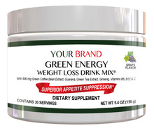 Private Label Supplement Energy & Weight Loss Drink Mix With 800 mg Green Coffee Bean Extract, Grape Flavor