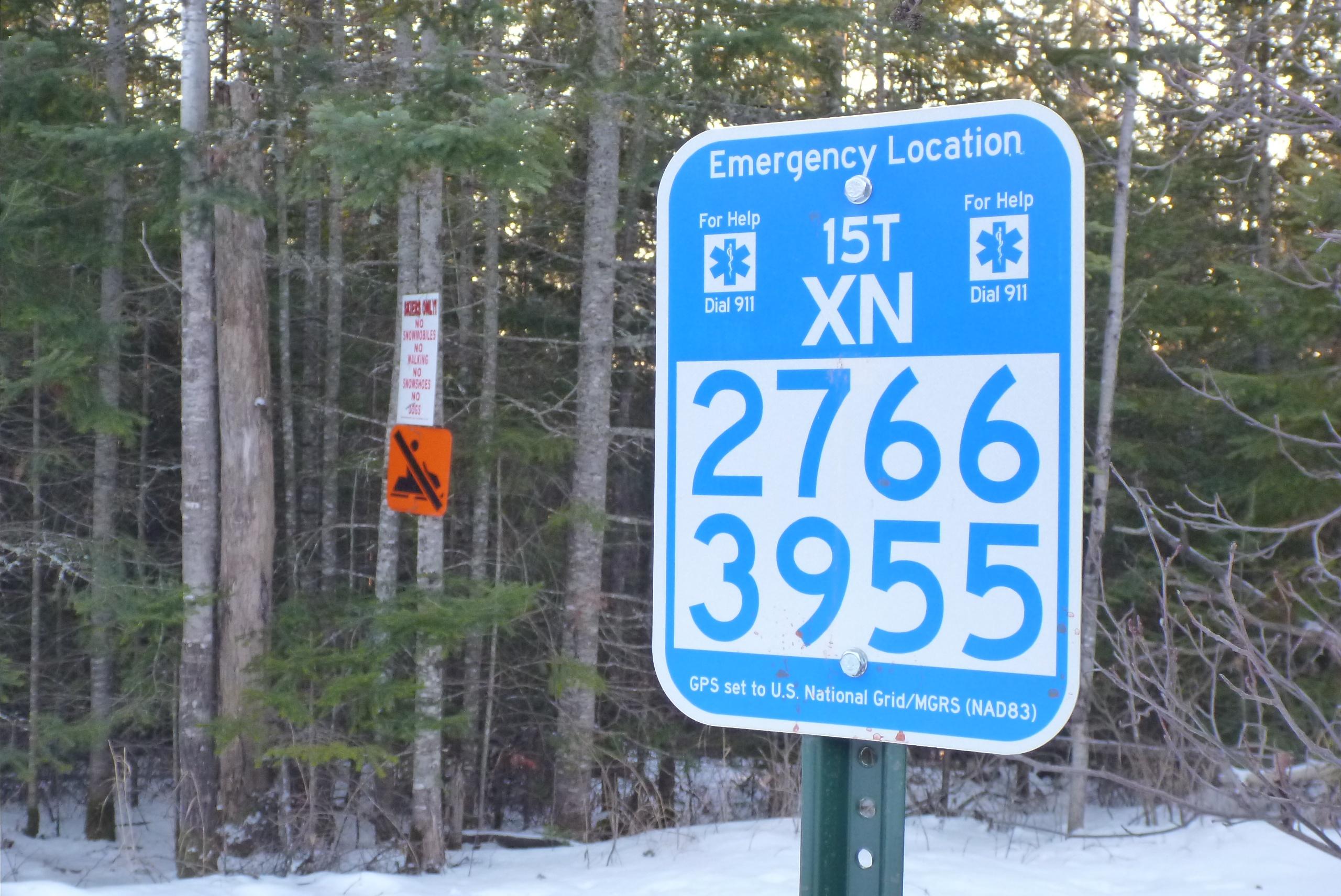 USNG Marker Sign on Trail