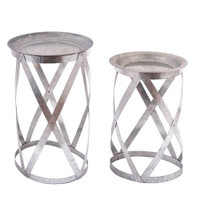 Galvanized Nested Tables   Set of 2