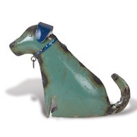 Sitting Dog from Recycled Metal