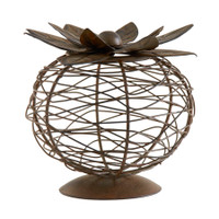Pretty Wire Container with Lotus Lid