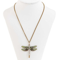 Enamel and Crystal Dragonfly Necklace with Burnished Chain