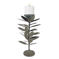 Falling Leaves Pillar Candle Holder | 15 Inch
