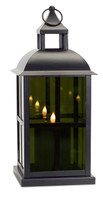 Black Mirrored Glass Lantern with Moving Flame | Square Detail