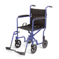 """Medline Deluxe Traveler Transport Wheelchair w/ 8"""" Wheels (Blue)"""