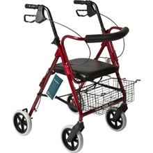 """Roscoe Deluxe Rollator w/ 8"""" Wheels Red"""