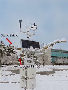 TS-100 Fan-aspirated Radiation Shield used on USU weather station with passive shield