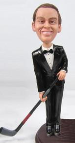 Tuxedo Hockey Groom Cake Topper Figurine