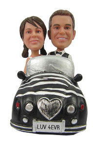 Bride and Groom in Car Wedding Cake Topper