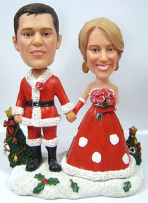Bride and Groom's First Christmas Married Bobble Heads
