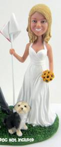 Bride Holding Flag cake topper figurine