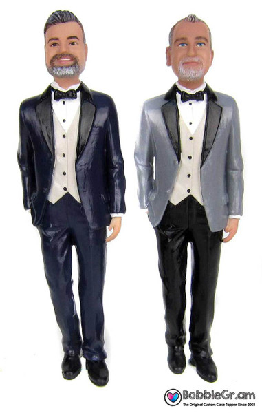 Custom Gay Grooms in Tuxedos Wedding Cake Topper