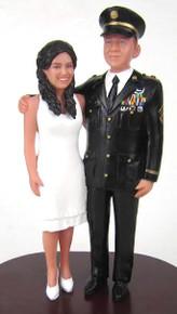 Custom Army Officer Groom with Tea Length Skirt Bride Cake Topper