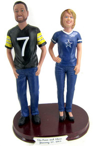 Sports bride and groom cake topper