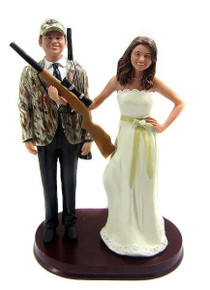 Hunting Bride and Groom w/ Shotguns Cake Topper