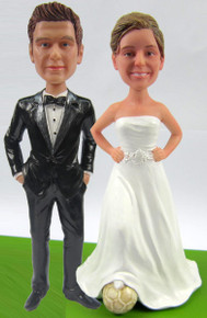 Soccer Bride w/Interchangeable Groom Cake Topper